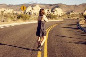 women, Alone, Road