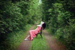chair, Women, Women Outdoors, Pink Dress, Path, Forest, Brunette, Looking Up, Pale