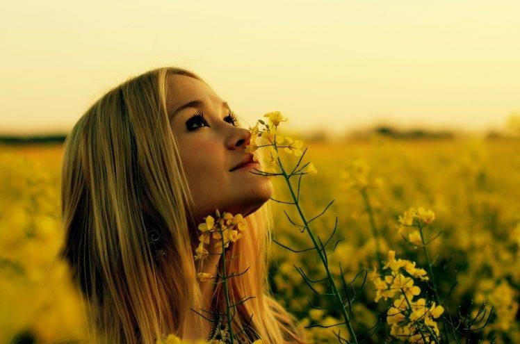 Rapeseed, Women Outdoors, Blonde, Yellow Flowers, Looking Up, Flowers HD Wallpaper Desktop Background