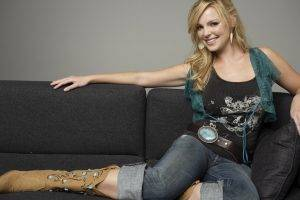 Katherine Heigl, Women, Blonde, Jeans, Cowboy Boots, Couch