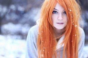 women, Orange Hair, Blue Eyes, Snow, Blurred, Marina Abrosimova