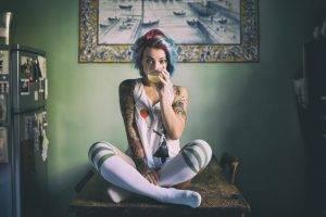 women, Tattoo, T shirt, Sitting