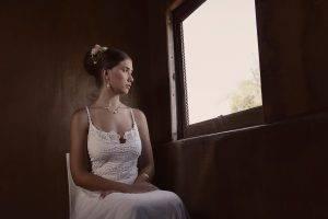 women, Sitting, Window