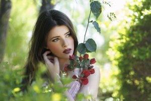 women, Brunette, Looking Away, Model, Flowers, Portrait