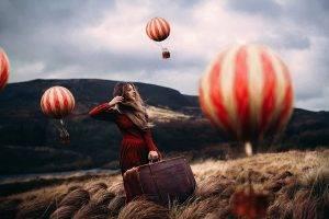 women Outdoors, Model, Fantasy Art, Hot Air Balloons
