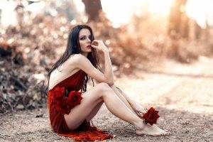 Alessandro Di Cicco, Women, Long Hair, Looking At Viewer, Model, Sitting, Bare Shoulders, Women Outdoors, Legs, Brunette, Barefoot, Straight Hair, Depth Of Field, Dress