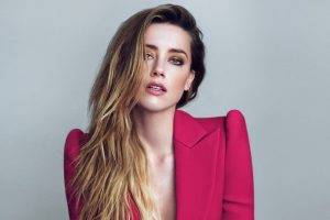 women, Amber Heard, Blonde, Long Hair, Actress, Wavy Hair, Cleavage, Looking At Viewer, Open Mouth, Face, Simple Background