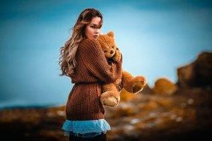 women Outdoors, Women, Model, Teddy Bears