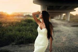 Maks Kuzin, Model, Women, Long Hair, Brunette, Bare Shoulders, Straight Hair, Hands In Hair, Closed Eyes, Women Outdoors, Dress, Depth Of Field
