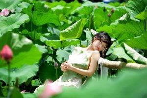 Asian, Women, Model, Green, Plants