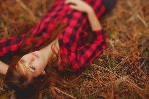 women, Redhead, Looking Up, Lying On Back, Plaid