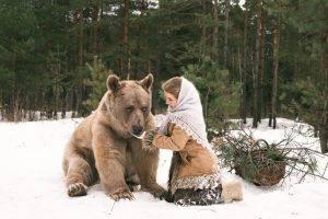 women, Fantasy Art, Winter, Snow, Bears, Animals
