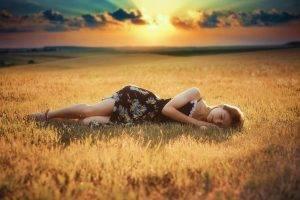 women, Lying Down, Field, Summer  Dress