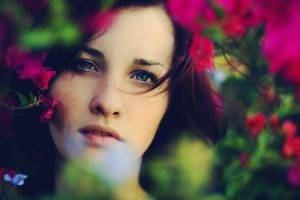 women, Freckles, Blue Eyes, Flowers