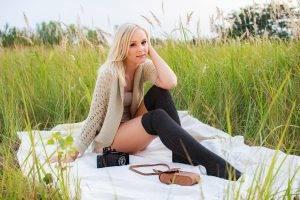women, Blonde, Looking At Viewer, Legs, Field, Camera, Picnic, Stockings, Knee highs
