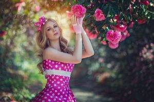 blonde, Women, Model, Flowers