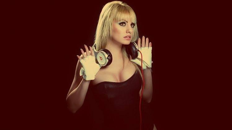 singer, Blonde, Celebrity, Alexandra Stan, Headphones, Beats, Photo Manipulation HD Wallpaper Desktop Background