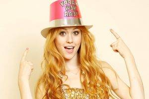 women, Katherine Mcnamara, Celebrity, Redhead, Actress, Looking At Viewer, Hat, Gold Dress, Against Wall