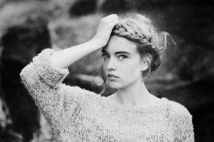 Elsa Fredriksson Holmgren, Women, Braids, Looking At Viewer, Hands On Head, Monochrome, Sweater