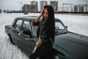 women, Brunette, Women With Cars, Looking Down, Leather Leggings, Jacket, Alexander Belavin