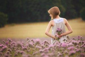 women, Model, Blonde, Women Outdoors, Short Hair, Closed Eyes, Bare Shoulders, Nature, Field, Rear View, White Dress, Trees, Forest, Flowers, Depth Of Field