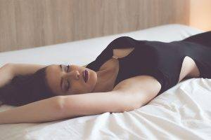women, Brunette, Closed Eyes, Face, Sideboob, Arms Up, Armpits, Lying On Back, Classy, No Bra, Dress, Red Lipstick, Black Dress