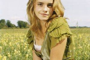 women, Actress, Blonde, Long Hair, Women Outdoors, Looking At Viewer, Emma Watson, Field, Portrait Display, Smiling, Nature, Grass, Flowers, Fashion