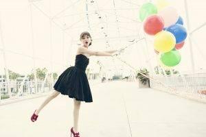 Victoria Justice, Black Dress, Balloons