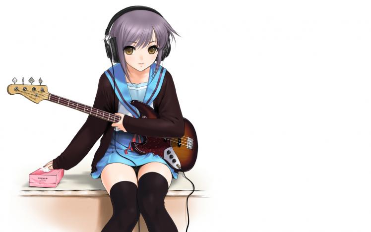 The Melancholy Of Haruhi Suzumiya, Nagato Yuki, Guitar HD Wallpaper Desktop Background