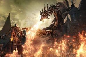Dark Souls III, Dark Souls, Gothic, Midevil, Dark, Video Games, Knights, Fire, Fighting, Sword, Landscape, Castle