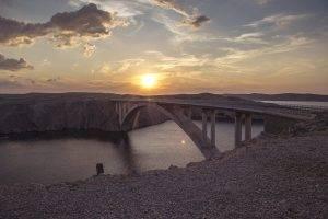 bridge, Sunset, River, Sun, North America, Landscape, Architecture