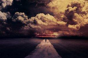 digital Art, Road, Clouds, Dark