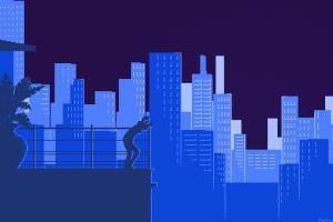 digital Art, Minimalism, Pixels, Pixel Art, Building, Skyscraper, Women, Balconies, Silhouette
