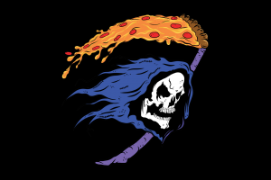 Grim Reaper, Teeth, Digital Art, Skull, Black Background, Minimalism, Humor, Hoods, Scythe, Pizza