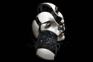 women, Face, Ann Leckie, Digital Art, Black Background, Minimalism, Robot, Androids, Technology, Wires, Book Cover, Science Fiction, Machine
