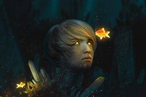 goldfish, Digital Art, Photo Manipulation, Glowing, Glowing Eyes