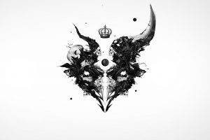 skull, Horns, Baphomet, White Background, Abstract, Artwork