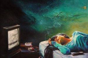 artwork, Painting, Women, TV, Cigarettes, Long Hair