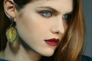 Alexandra Daddario, Women, Brunette, Face, Blue Eyes
