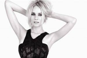 Diane Kruger, Women, Blonde, Monochrome, Simple Background, Face, Actress, Hands In Hair, Armpits, Short Hair