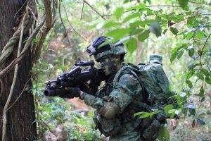 soldier, SAR 21, Army Gear, Weapon, Assault Rifle, Singapore, Grenade Launchers, Forest, Camouflage, Military, Military Training