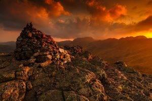 nature, Landscape, Mountains, Clouds, Sunlight, Rocks