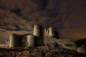 architecture, Castle, Ancient, Nature, Trees, Landscape, Clouds, Ruin, Plants, Night, Stars, Stones, Long Exposure