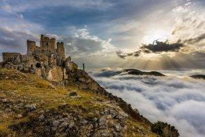 architecture, Castle, Ancient, Nature, Trees, Landscape, Clouds, Italy, Ruin, Hills, Rock, Stones, Sun Rays