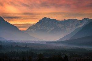 photography, Nature, Landscape, Mountains, Mist, Sunset, Valley, Pink, Sky, Clouds, Snowy Peak, Forest, Germany