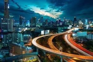 Thailand, Thai, Bangkok, City, Town, Road, Landscape, Building, Architecture, Night, Lights, Street, Sky, Blue, Orange, Clouds