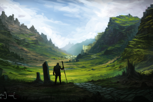 warrior, Fantasy Art, Digital Art, Artwork, Nature, Landscape, Field, Rocks, Mountains, Clouds, Animation