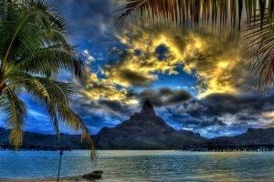 clouds, Palm Trees, Sea