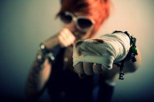 women, Redhead, Fighting