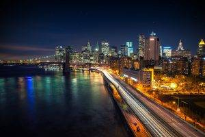 Manhattan, New York City, Night, Brooklyn Bridge, West Side Highway